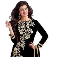Black Embroidered Chanderi Churidar Suits