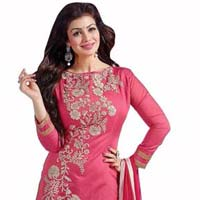 Pink Embroidered Chanderi Churidar Suits
