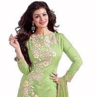 Green Embroidered Chanderi Churidar Suits