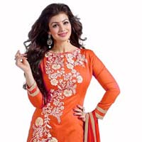 Orange Embroidered Chanderi Churidar Suits