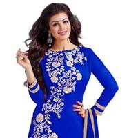 Royal Blue Embroidered Chanderi Churidar Suits