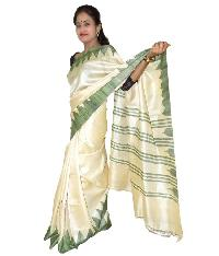 Cream Color Tussar Silk Saree