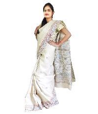 Cream Tussar Silk Saree