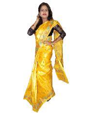 Golden with Coffee Tussar Silk Saree