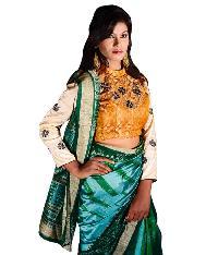 Sambalpuri Green Silk Saree
