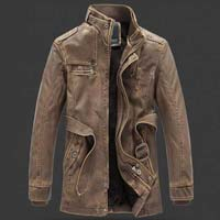 Mens Trench Leather Coat