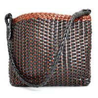 Womens Leather Hand Woven Tote Bag