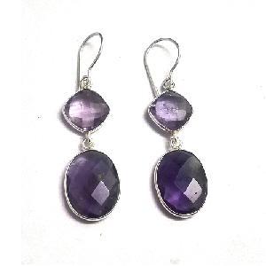 Amethyst gemstone earring Silver Jewellery