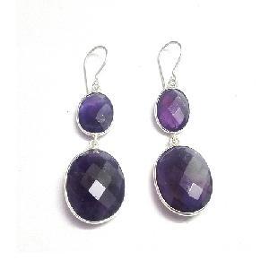 Amethyst gemstone silver earring jewellery
