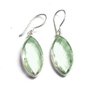 Green Amethyst gemstone earring Silver Jewellery