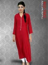 Ladies Red Cotton Full Sleeves Kurti
