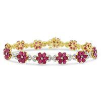 Diamond Flower Leaf Bracelet