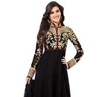 Black Embroidered Unstitched Anarkali Suit