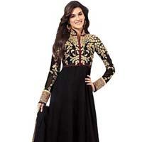 Black Unstitched Chanderi Suit