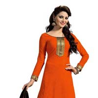 Orange Unstitched Chanderi Suit