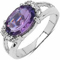 Amethyst  Cz Spainel Gemstone Ring With 925 Sterling Silver