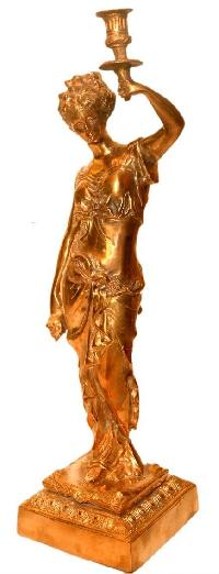 Bronze Lady Candle Holder Statue