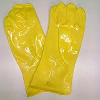 Pvc Hand Gloves Shining Yellow