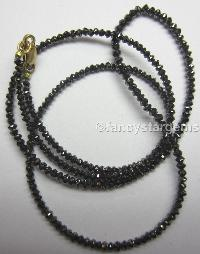 Black Color loose faceted diamond beads necklace