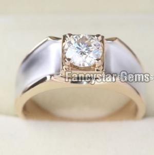 1.5CT Off White Moissanite Mens Engagement Rings