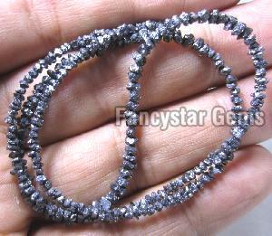 Black Color Rough Diamond Beads Necklace