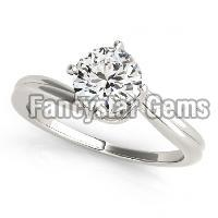 White gold plated moissanite engagement ring in silver