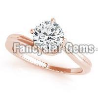 White moissanite rose gold plated wedding ring