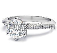 White round moissanite solitaire engagement rings