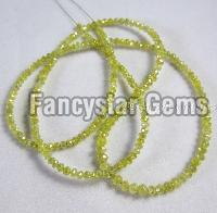 Yellow color loose faceted diamond beads necklace