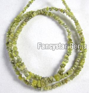 Yellow Color Rough Diamond Beads Necklace
