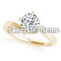 Yellow gold plated over white moissanite ring in 925 silver