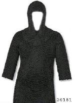Viking Armor Chainmail with Hood Black Antique
