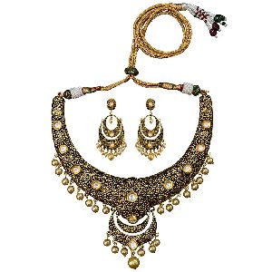 Meenakari Antique Gold Plated Hasli Wedding Necklace Set
