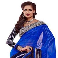 Manjula Blue Black Exclusive Designer Chiffon Saree