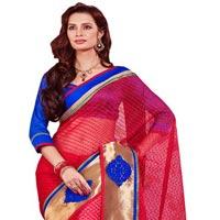 Manjula Red Designer Thousand Butti Art Kora Saree