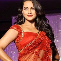 Dazzling Star Sonakshi Sinha Embroidered Red Net Bollywood Replica Sarees