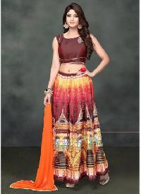 Brown & Multi Color Banglori Silk Printed Lehenga Choli