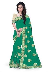 Green Embroidered Zoya Silk Sarees