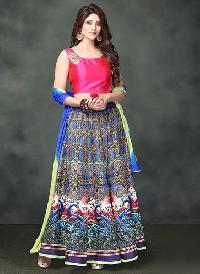 Pink & Blue Multi Color Banglori Silk Printed Lehenga Choli