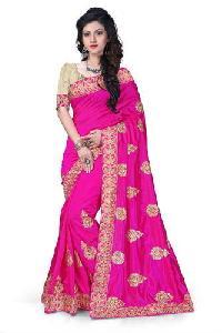 Pink Embroidered Zoya Silk Sarees
