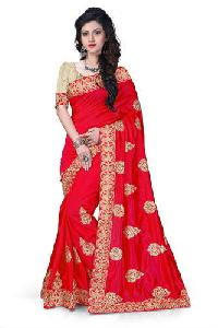 Red Embroidered Zoya Silk Sarees