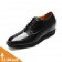 Ostrich Leather Black Dress Elevator Shoes