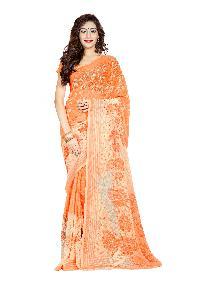 Casual Wear Orange Printed Chiffon Saree_aakn32sr1038aksml