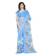 Casual Wear Blue  Printed Chiffon Saree_aako62sr1042bksml
