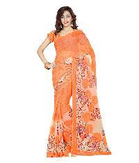 Casual Wear Orange  Printed Chiffon Saree_aako72sr1042cksml