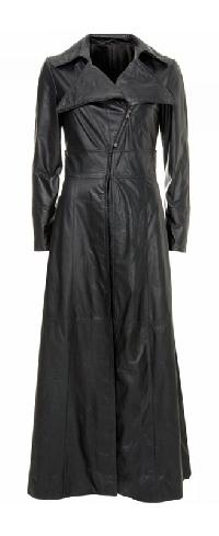 womens long leather coat
