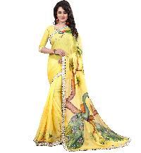 Chiffon Hand Painted Yellow Saree