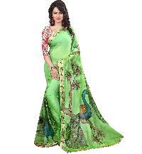Nazneen Hand Painted Pista Green Saree