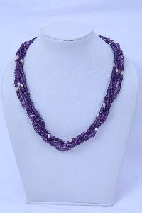 Amethyst Pearl Beaded Necklace