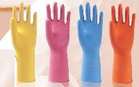 Flock Lined Regular Weight Rubber Gloves
